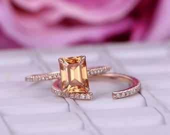 2pcs 6x8mm Emerald Cut Yellow Moissanite Engagement ring Set/Diamond wedding band/14k Rose gold/Stackable/Half Eternity/open gap ring/Pave