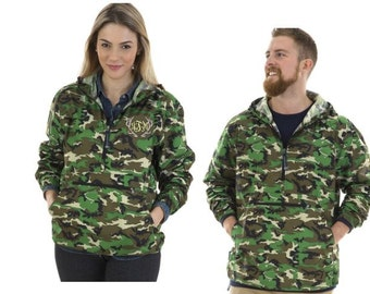 Camo Print Charles River Pull-over, water resistant, jersey lined pull over, 1/2 zip pull over, neon pink, lilac, jacket