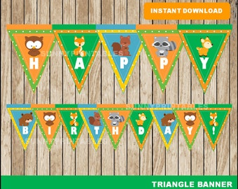 Woodland triangle banner; printable Woodland banner, Woodland party banner instant download