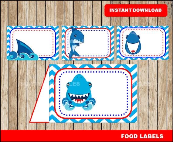 Shark Food Labels Printable Shark Tent Cards Shark Party