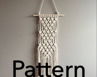 "Pattern pdf DIY Macramé Wall Hanging ""Triple Artemis"" Beginner Basic Instructions Macrame Fiber Arts Pattern Only"