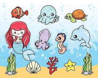 Cute Sea Creatures Clipart, Baby, Octopus, Seahorse, Mermaid, Squid, Dolphin, Turtle, Underwater, Chibi, Commercial Use (Printable) - C1619