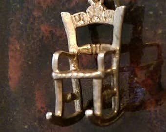 Vintage sterling silver rocking chair charm necklace pendant or keychain charm