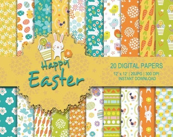 Easter digital paper, easter printable, Yellow digital, rabbit pattern, Flower pattern, chicken, chick, bunny, egg background, commercial