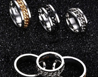Titanium Spinner-Black/Gold/Silver-Chain Steel Ring + Free Shipping!