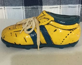 "Vintage Coneco ceramic yellow and green ""sneaker"" bank"