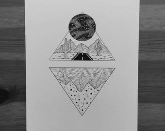 Original desert drawing (A5)