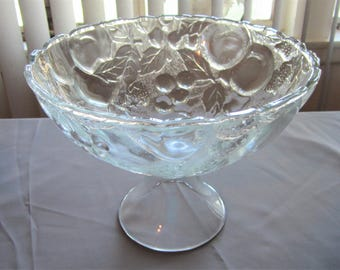 "Vintage Glass Fruit Bowl, 10"" Diameter"