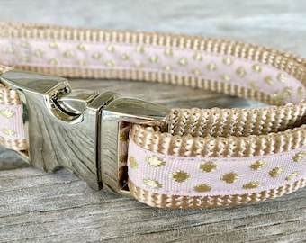 "Blush Pink and Gold Pebbles 5/8"" Dog Collar, Pink and Gold Dog Collar, Small Breed Dog Collar, Girl Dog Collar, Woven Gold Dog Collar"