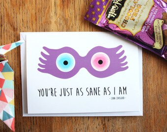 "Card A6, ""You're just as sane as I am"", Luna Lovegood, Harry Potter, illustration"