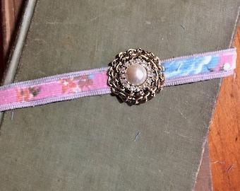 Pink Floral Corduroy Elastic Headband, Faux Pearl