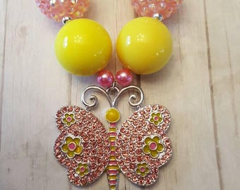 Pink butterfly chunky necklace