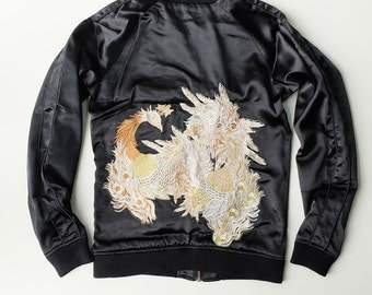 MADHOUND Simple Elegant High Sense Black and Gold Motif Phoenix Kirin Mythical Bird Dragon Ryu Embroidery Sukajan Jacket Art Size: 44 SK771