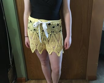 Crochet yellow lace beach shorts