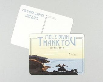 Big Sur California Beach Wedding Thank You Postcards
