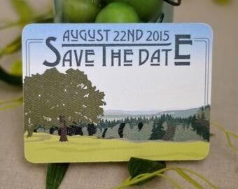 Wedding Save The Date Postcard // Fruitlands Valley Harvard Massachusetts Outdoor Landscape - BP1