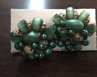 Vintage Green Beaded Cluster Clip On Earrings (Japan)