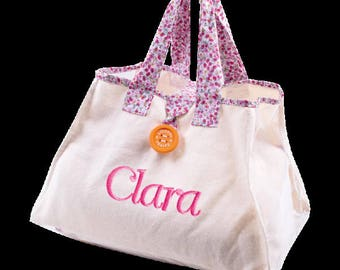 Birth girl box personalized with first name in embroidery for baby