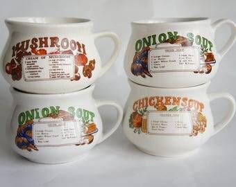 1970's Vintage Soup Recipe Mugs