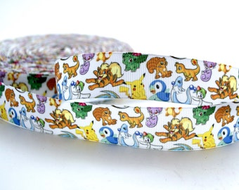 Pokemon Characters Game Play Inspired Grosgrain Ribbons 1""