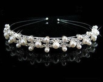 Silver & Pearl Bridal Tiara BH1005i
