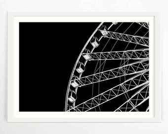 Photography Print, Ferris Wheel, London Eye, Monochrome Print, Black and White Art, Minimalist Print, Geometric Print, Large Modern Art, Art
