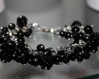 Cuff with semiprecious stones and Crystal pendants black