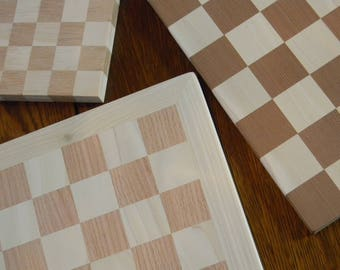 Custom Chess Boards. Flush sanded and unfinished Chess board blanks built to any size. Perfect for Do It Yourself chess table or chess set.
