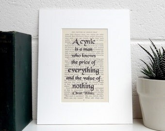 Vintage Book Print, Oscar Wilde Quote, Witty Quote Decor, Literary Print, Book Lover Gift, Literature Print, Mounted Inspirational Print