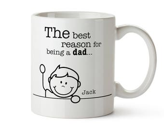 Mug with Print - Reasons For Being A Dad - Tea / Coffee Cup Personalised with [NAMES]