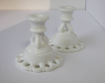 Pair of Westmoreland Doric Lace Edge Candle Holders