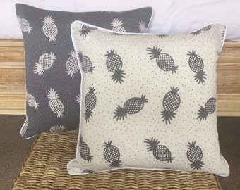 Pair Grey & White Contrasting Pineapple Cushions Covers