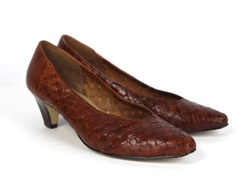 Vintage Connie Sellecca Sz 10 Rich Brown Woven Leather Heels - Made in Brazil