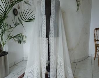 1810-1820 Gorgeous Muselin Stole or Shawl, antique shawl, Empire shawl