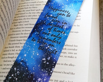 Harry Potter Watercolor Bookmark, Harry Potter Quote Bookmark, Paper Bookmark, Unique Bookmark, Quote Bookmark, Bookworm Gift, Book Gifts