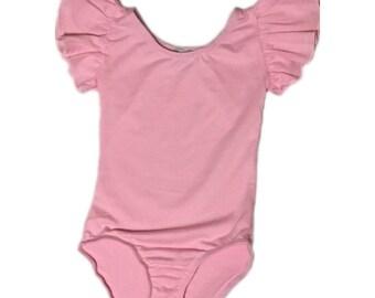 Girls Light Pink Flutter Sleeve / Ruffle Shoulder Leotard