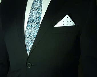 Handmade Men's Tie - Gibbifer - black, white, blue speckled print