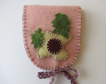 Sewing Needle Book/Needle Case/Needle Holder/ Pink Oval Purple Tie with Cream Flowers