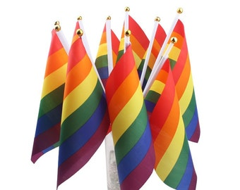"""Small LGBT Pride Flag - 5x8"""" rainbow flag for desk, office or dorm decoration. Perfect for coming out gatherings and birthday parties"""