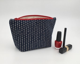 Make up Bag - Handmade Travel Pouch, Cosmetic Bag, Travel Gift, Fabric Zipper Pouch, Christmas Gift, Gift for Her, Loaded Bobbins