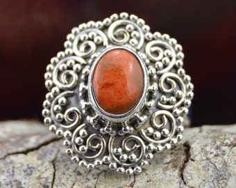 Oval sponge coral and Sterling Silver ring size 7