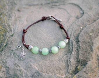 Leather and Jade Bracelet