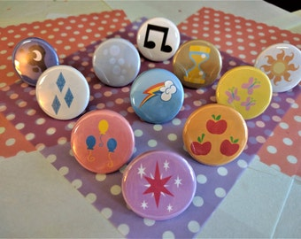 My Little Pony Cutie Mark Pins! Sets of 3, 6, 9, and 11
