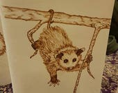 Refillable Leather Journal with Burned Hanging Opossum Design