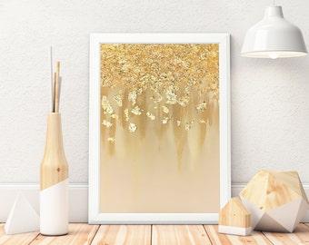 Gold Leaf Painting, Gold Leaf Poster, Gold Leaf Art, Beige, Dipped Gold, Wall Art, Art Print, Gold Art, Minimalist