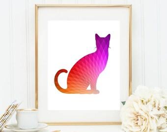 Modern Cat Art, Kitty Triangle Art, Cat Geometric Print, Rainbow Cat Poster, Multicolor Cat, Digital Cat Art, Printable Cat Art