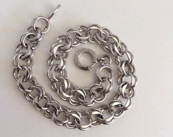 Vintage Sterling Double Link Charm Bracelet