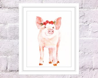 Pig Print, Watercolour Piggy, Piglet with Flower Crown, Nursery Animal Print, Girls Room Decor, Farm Animal Print, Cute Pig Print