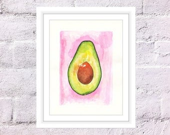 Avocado Print, Watercolour Avocado, Watercolour Fruit Print, Food Watercolour Art, Kitchen Print, Art for Home, Housewarming Gift