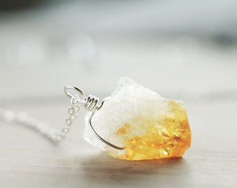 Raw Citrine nugget pendant | Sterling silver wire wrapped pendant | Genuine Citrine pendant | November birthstone | Golden yellow necklace